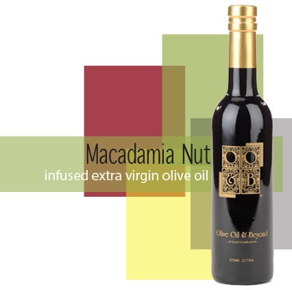 Bottle of Macadamia Nut Infused Extra Virgin Olive Oil