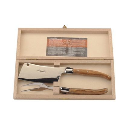 Laguiole Olive Wood 2pc Cheese Set