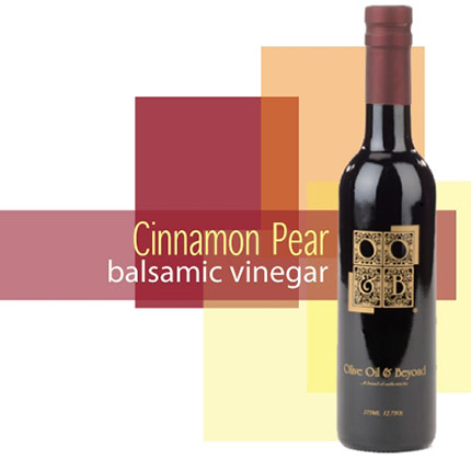 A bottle of Cinnamon Pear Balsamic