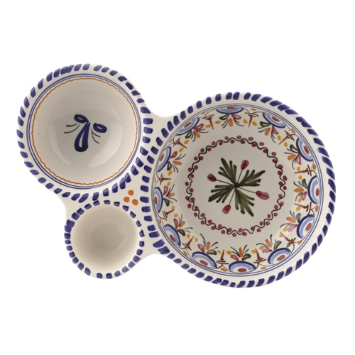 3-Part Spanish Olive Dish- Multicolor