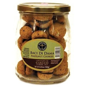 Baci di Dama Filled Hazelnut Cookies in Jar