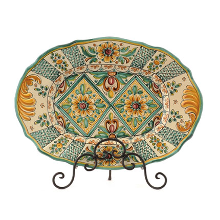 Oval Serving Platter Especial- Antique Green