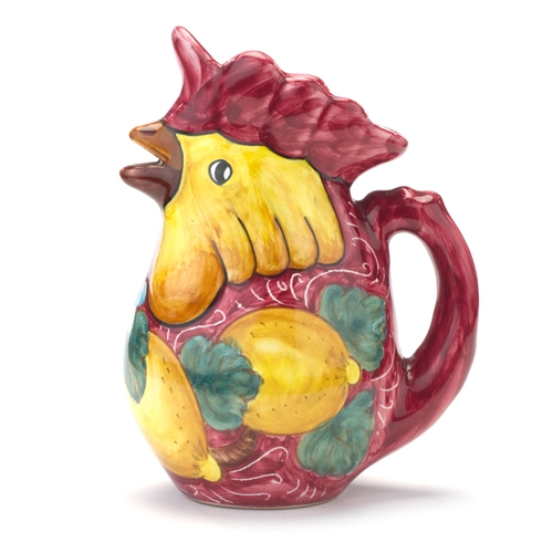 Stately Red Chicken Carafe with Lemons