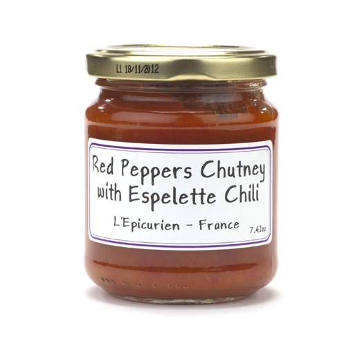 Jar of Red Peppers Chutney with Espelette Chili