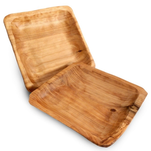 Olive Wood Square Plates, 3 piece set