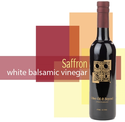 Bottle of Saffron White Balsamic Vinegar