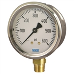 "WIKA 9767061 Pressure Gauge, Type 212.53, 2.5"" Dial, Copper Alloy Wetted Parts, Glycerine Filled Stainless Steel Case, 0 to 100 PSIG Range, 1/4"" MNPT Lower Connection"