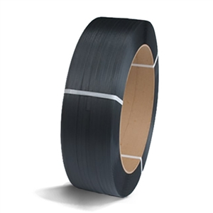 "1/2"" x .015 Black Poly Strapping - 16 x 6"" Core.  300 lb break strength.  Coil weights 16 lb."
