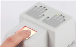 The Green Bit DactyScan26i Fingerprint Scanner uses 10 3-color LEDs indicate the scanning sequence.