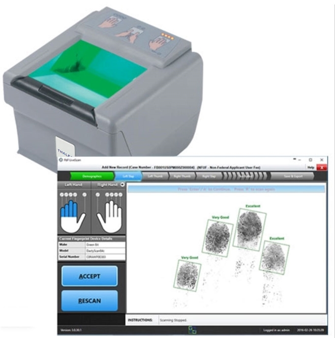 FbF LiveScan Bundle with Green Bit DactyScan84c | Fulcrum Biometrics Live Scan Systems