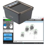 The FbF LiveScan Bundle with Integrated Biometrics Kojak Ten-Print Roll Scanner scans four flat prints and single finger rolls.