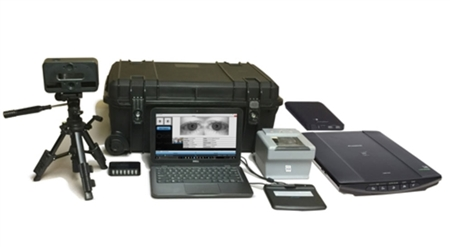 The FbF bioEnroll Full Portable Collection Kit includes hardware (IB Columbo fingerprint scanner, laptop, etc.) and software is used for biometric enrollment and verification.