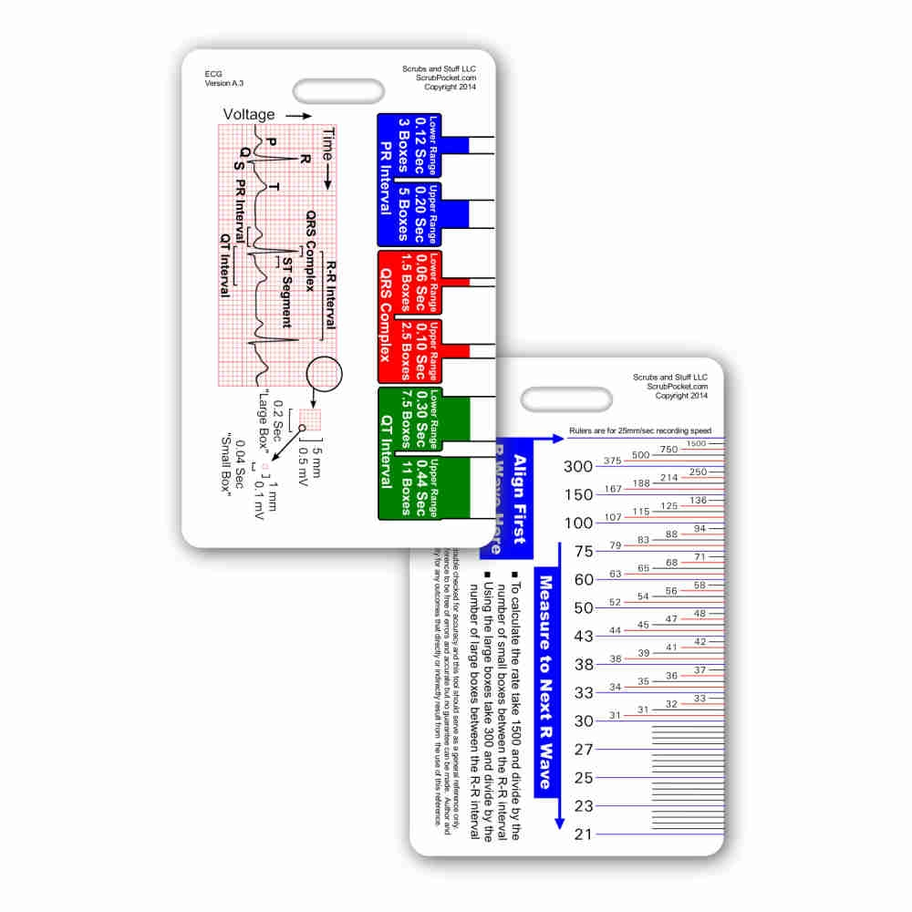 Ekg ruler diagram reference card ecg ruler diagram vertical badge card ccuart Gallery