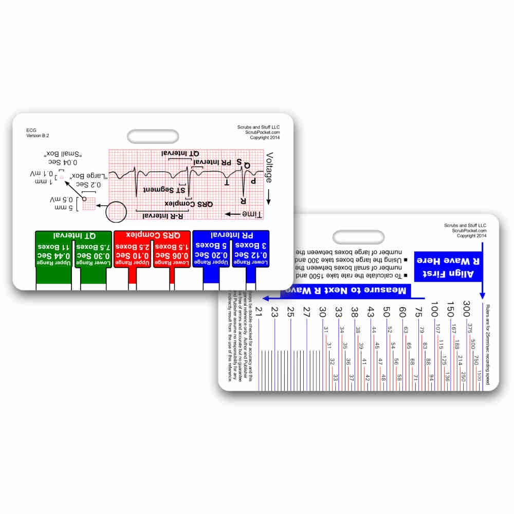 Ekg Ruler Diagram Reference Card