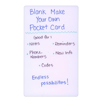 Blank Plastic Make Your Own Index Pocket Card