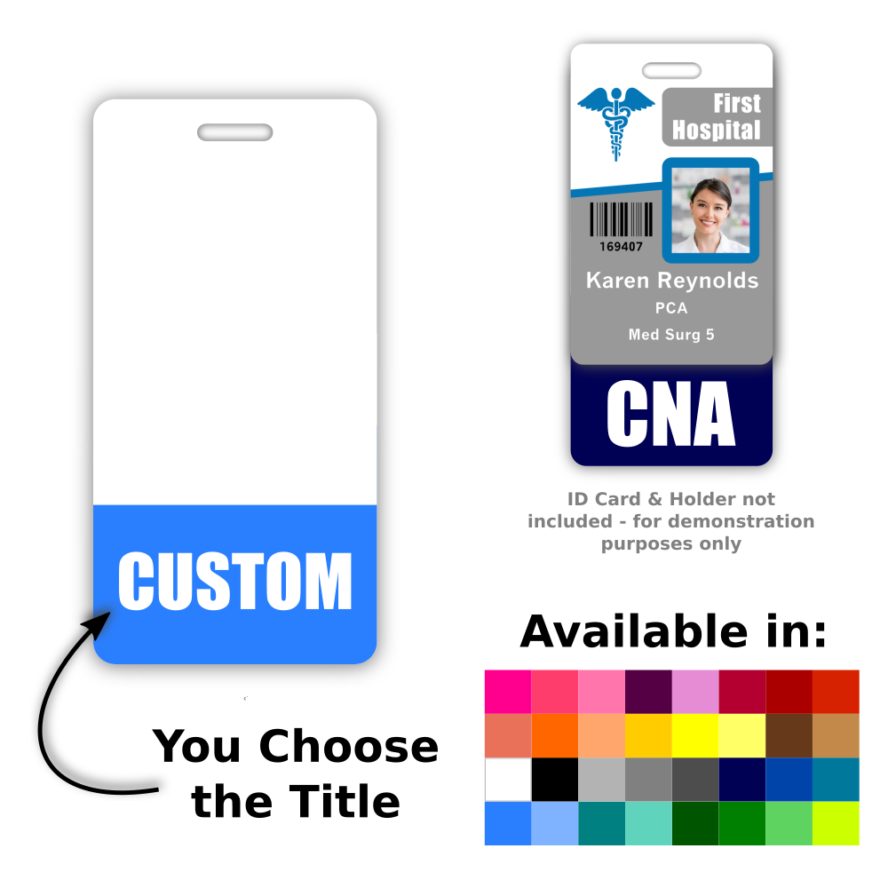 Customized Vertical Badge Buddy Plastic Badge Badge Color and Custom Text