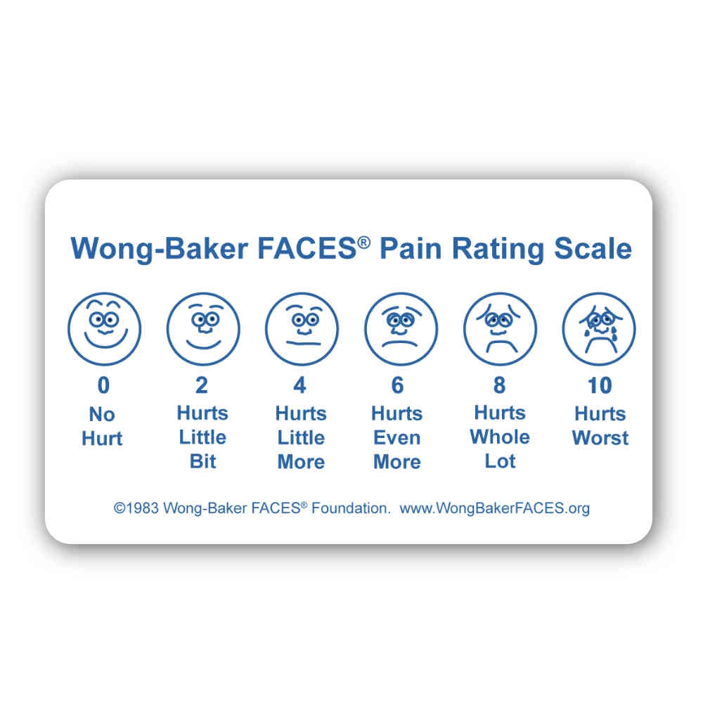 """Wong-Baker FACES® Pain Rating Scale 3"""" By 5"""" Pocket Card"""