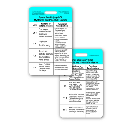 SCI C1-T12 Myotomes & Functional Considerations Vertical Badge Card