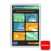 "Stop the Spread of Germs CDC 12""x18"" Poster (Yes Free!)"