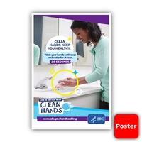 "Clean Hands CDC 12""x18"" Poster (Yes Free!)"