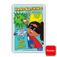 "Handwashing Super Power CDC 12""x18"" Poster (Yes Free!)"