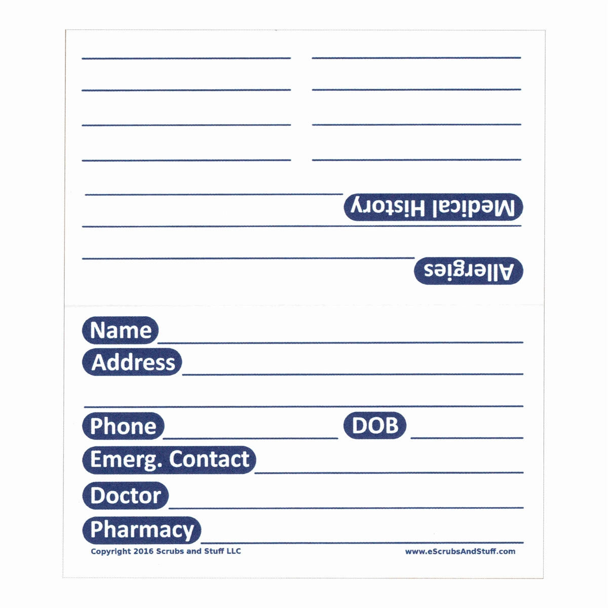 volusion templates for sale - patient medication and history card pack of 25