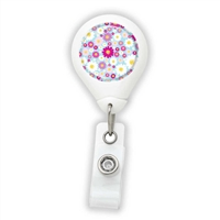 Pink & White Flowers Badge Reel