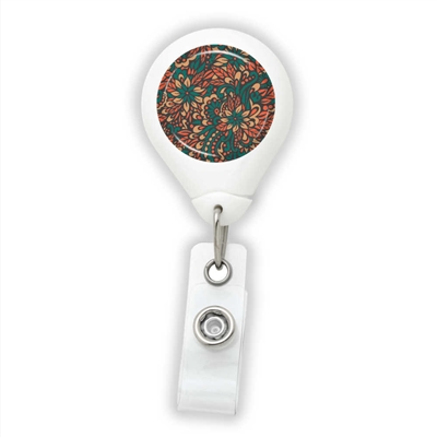 Red & Teal Flowers Badge Reel