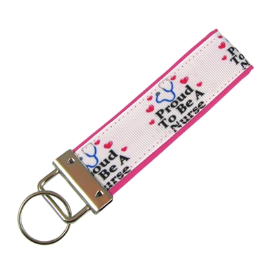Proud to be a Nurse Black Border Keychain