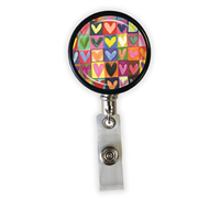 Drawn Hearts Heavy Duty Steel Cord Badge Reel