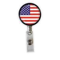 US Flag Heavy Duty Steel Cord Badge Reel