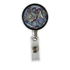 Purple & Blue Paisley Heavy Duty Steel Cord Badge Reel
