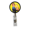 Rosie The Riveter Heavy Duty Steel Cord Badge Reel