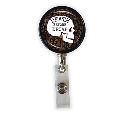 Death Before Decaf Heavy Duty Steel Cord Badge Reel