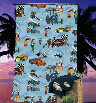 Race Car Shower Curtain | deanmillerprints.com