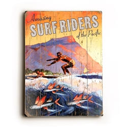 Surfriders Hawaiian Wood Sign