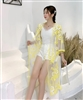 Sunflower Embroidered Transparent Kimono A0104 - Yellow