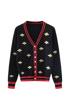 Embroidered Bee Knit Cardigan A0118 - Black
