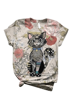Floral Kitty Printed T-shirt A0143