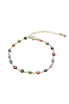 Against Evil Eye Beads Anklet AK0005 - Gold