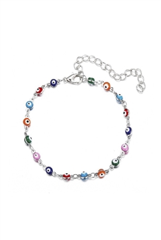 Against Evil Eye Beads Anklet AK0005 - Silver