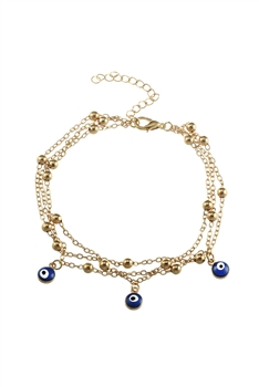 Multi-layer Against Evil Eye Anklet AK0008 - Gold