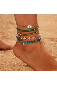 Evil Eye Seed Bead Anklet Set AK0043