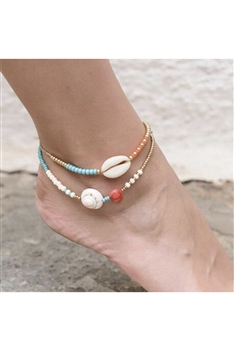 Shell Seed Bead Anklet Set AK0048