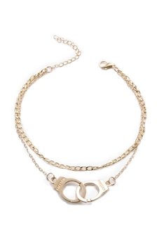 Handcuffs Double-layer Chain Anklet AK0060 - Gold