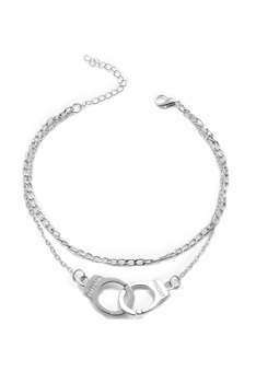 Handcuffs Double-layer Chain Anklet AK0060 - Silver