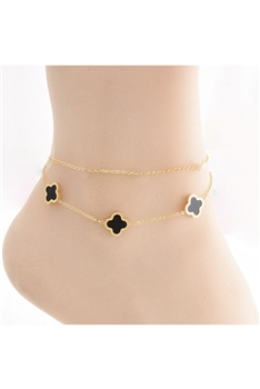 Clover Stainless Steel Double-layer Anklet  AK0061