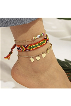 Heart Braided Anklet Set AK0067