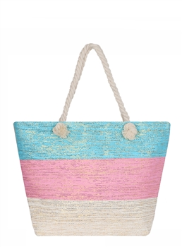Three Toned Color Block Tote Bag AO880