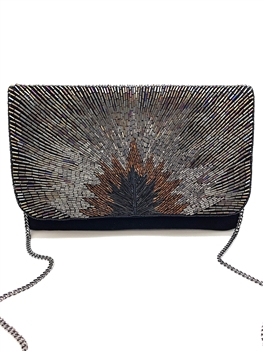 Hematite And Metallic Tube Beading Clutch Bag AP-LA-2009